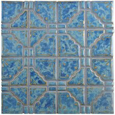 Moonlight Random Sized Porcelain Hand-Painted Tile in Pacific Blue