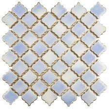 """Pharsalia 12.38"""" x 12.5"""" Porcelain Mosaic Tile in Frost Blue"""