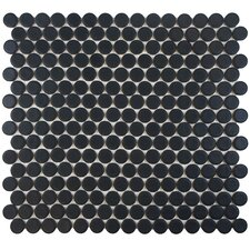 "Penny 12"" x 12.25"" Porcelain Mosaic Tile in Matte Black"