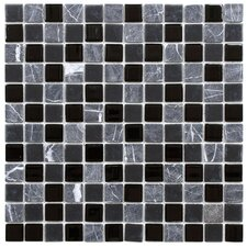 "Chroma 0.875"" x 0.875"" Glass and Natural Stone MosaicTile in Ligoria"