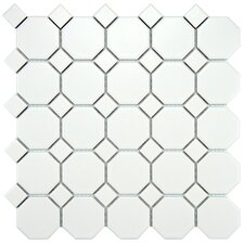 Retro Random Sized Porcelain Mosaic Tile in White