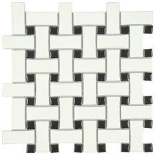 "Retro Basket Weave 10.5"" x 10.5"" Porcelain Mosaic Tile in Matte White and Black"