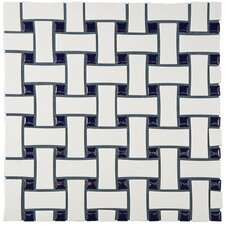 """Retro Basket Weave 10.5"""" x 10.5"""" Porcelain Mosaic Tile in White and Cobalt"""