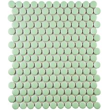 "Retro 11.5"" x 9.88"" Porcelain Mosaic Tile in Green"
