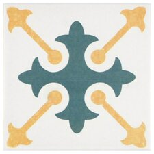 """Revive 7.75"""" x 7.75"""" Ceramic Hand Painted Tile in White"""