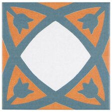"Revive 7.75"" x 7.75"" Ceramic Hand Painted Tile in Orange"