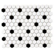 "Retro 0.875"" x 0.875"" Porcelain Mosaic Tile in White & Black"