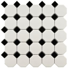 Retro Random Sized Porcelain Mosaic Tile in White & Black