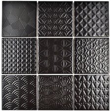 "Vigor 3.88"" x 3.88"" Porcelain Mosaic Tile in Black"