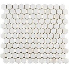 """Formation 1"""" x 1"""" Hex Marble Mosaic Tile in White"""