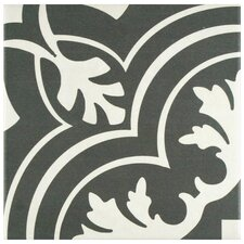 """Forties 7.75"""" x 7.75"""" Ceramic Floor and Wall Tile in Classic White and Gray"""