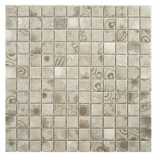 "Filigree 0.9"" x 0.9"" Porcelain Mosaic Floor and Wall Tile in Gray"