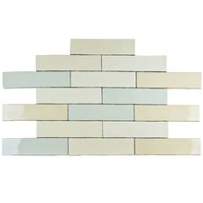"""Anchorage 3"""" x 12"""" Ceramic Wall Tile in Craquelle White and Blue"""