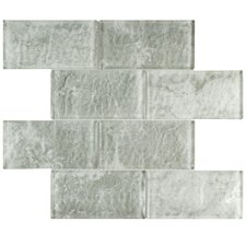 """Nieve 2.88"""" x 5.88"""" Glass Mosaic Tile in Grey"""