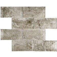 "Nieve 2.88"" x 5.88"" Glass Mosaic Tile in Smoke"