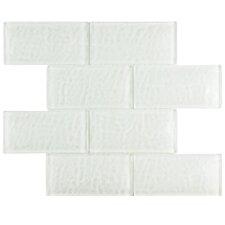 "Nieve 2.88"" x 5.88"" Glass Mosaic Tile in Glacier White"