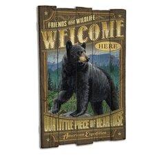 Bear Wooden Cabin Sign Wall Decor in Black