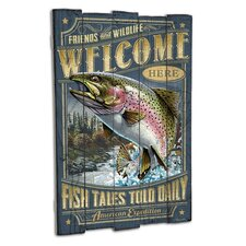 Rainbow Trout Wooden Cabin Sign Wall Décor