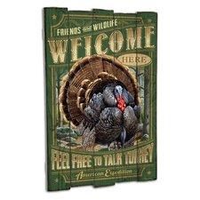 Wild Turkey Wooden Cabin Sign Wall Decor