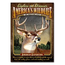 Whitetail  Deer Tin Sign Magnet Wall Décor