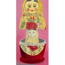 Matryoshka Mother Daughter Giclee Painting Print on Canvas