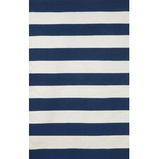 Sorrento Indoor/Outdoor Rugby Stripe Navy Indoor/Outdoor Area Rug