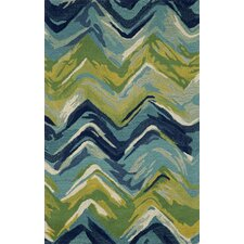 Tivoli Chevron Playa Blue & Green Area Rug