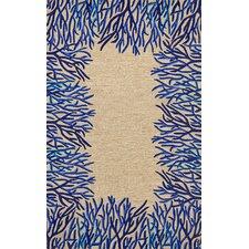 Spello Cobalt Coral Border Blue/Beige Outdoor Area Rug