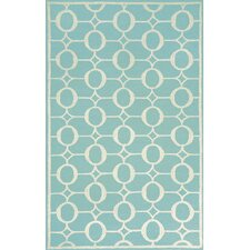 Spello Arabesque Aqua Outdoor Area Rug