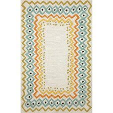 Capri Ethnic Pastel Border Indoor/Outdoor Area Rug