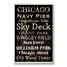 Chicago Typography Rectangle Wall Plaque