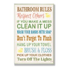 Bathroom Rules Rubber Ducky Typography Bathroom Wall Plaque