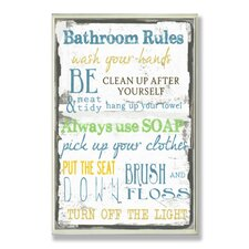 Bathroom Typography Tall Rectangle Wall Plaque