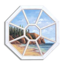 'Octagon Lighthouse' Faux Window Scene Painting Print Plaque