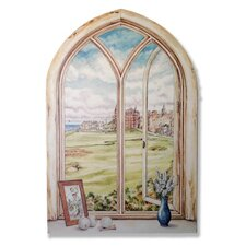 St. Andrew's Golf Course Faux Window Scene Painting Print Plaque