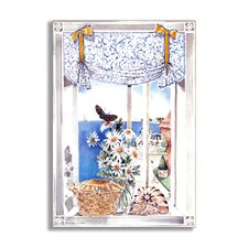 Daisies and Butterfly Faux Window Scene Painting Print Plaque