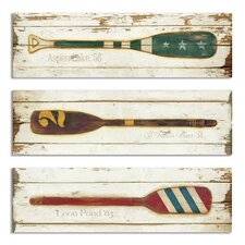 Vintage Prized Oars 3 Piece Wall Plaque Set