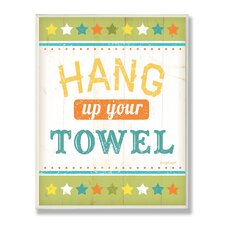The Kids Room Hang Up Your Towel Green Stars Wall Plaque