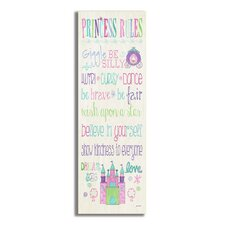 The Kids Room Princess Rules with Castle Typography Skinny Rectangle Wall Plaque