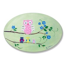 The Kids Room Owl Green Oval Wall Plaque