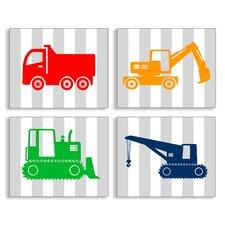 The Kids Room 4 Piece Construction Vehicles on Stripes Wall Plaque Set