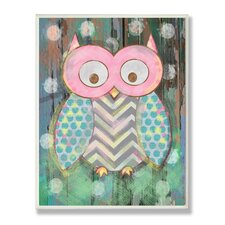 The Kids Room Distressed Woodland Owl Canvas Art