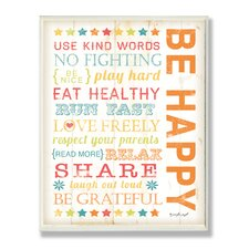 The Kids Room Be Happy Kids Typography Rules Rectangle Wall Plaque