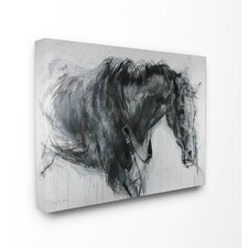 Horse Drawing Oversized Wrapped Canvas Graphic Art