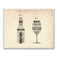His and Hers Wine and Beer Typographic Icon Textual Art