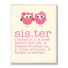 Owl Sister Typography Graphic Art Plaque