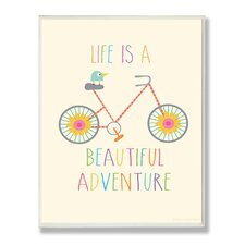 Life is a Beautiful Adventure Typography Graphic Art Plaque