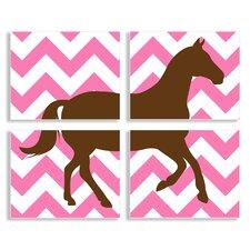 Brown Horse on Pink Chevron 4 Piece Graphic Art Plaque Set