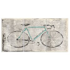 Bicycle on Newspaper Print Triptych 3 Piece Graphic Art