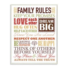 Family Rules Typography Autumn Colors Textual Art